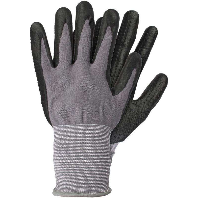 Klus handschoenen grijs zwart 6 paar maat m