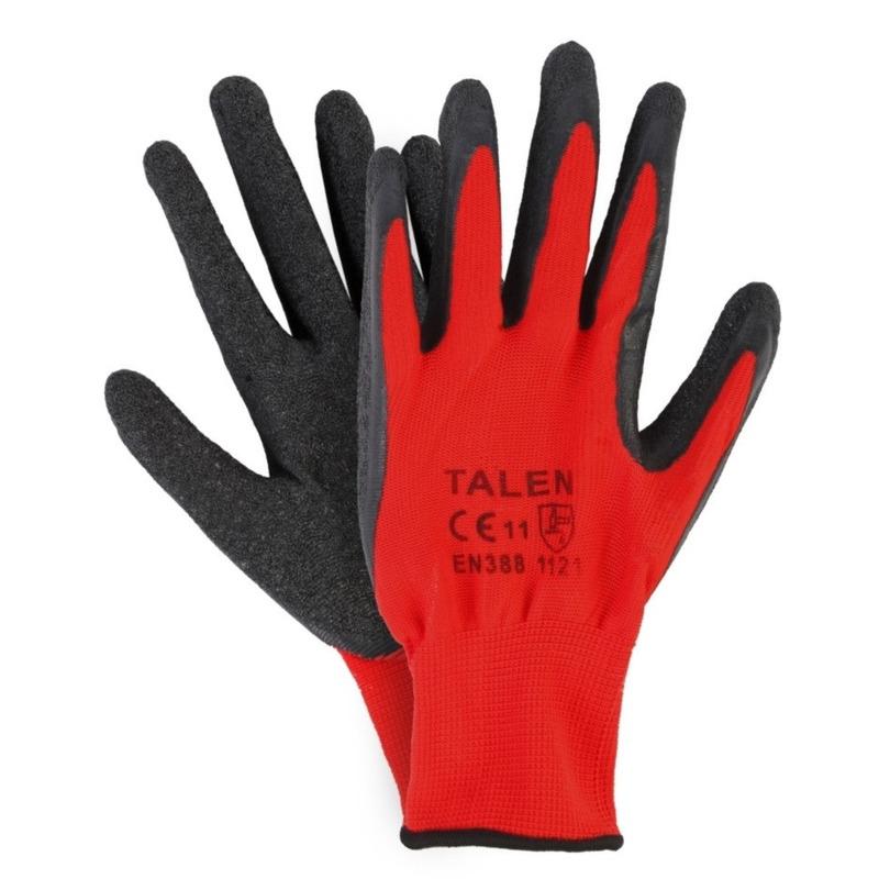Klus handschoenen rood zwart 3 paar maat l